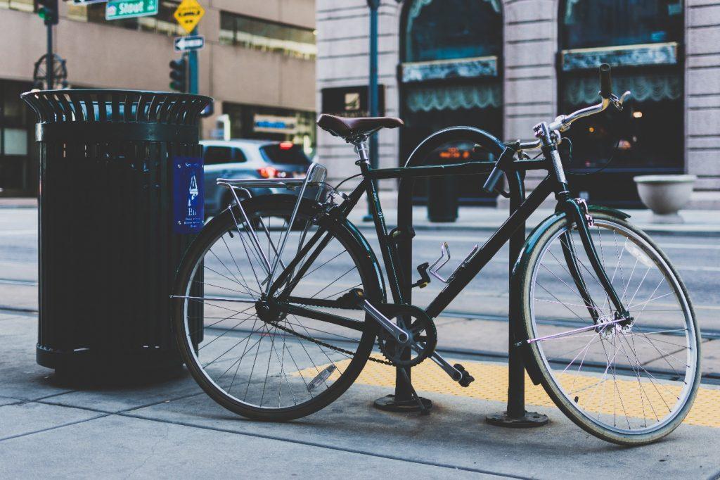 Locked Up Bike On Washington DC Sidewalk