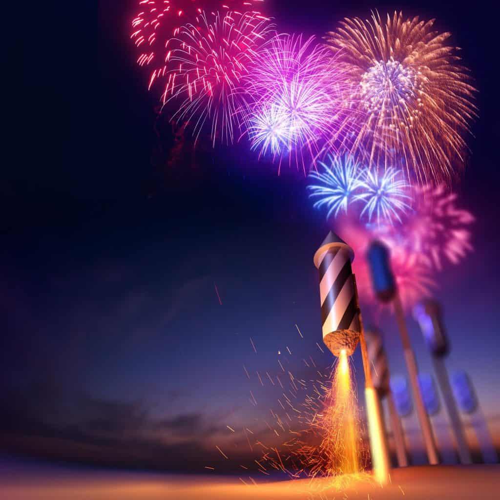 Firework Rockets Launching at Washington DC