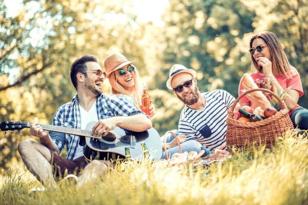 two men and women enjoying picnic