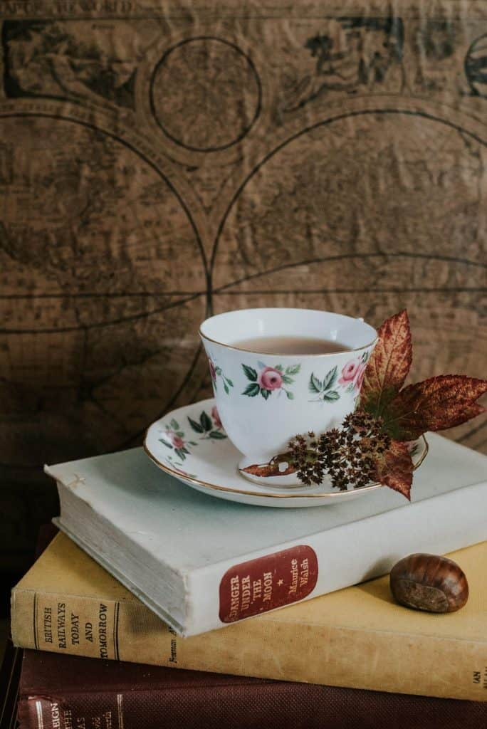 tea cup decoration on book